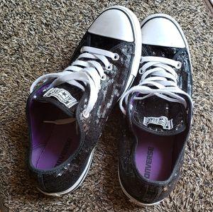 Black Sequin Converse Shoes